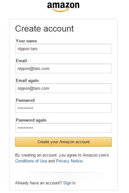amazon account creation