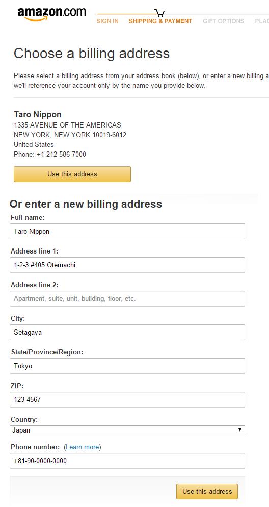 amazon billing address